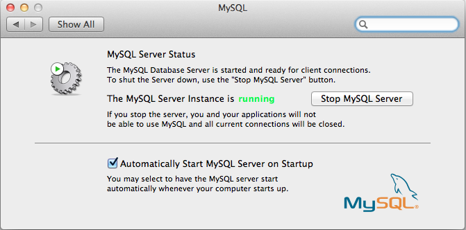 MySQL Mac OS X Lion Preferences